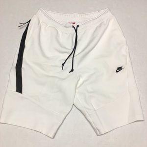 Nike tech fleece white black logo shorts